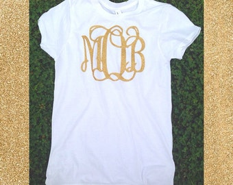Gold Glitter Monogram Fitted Tee