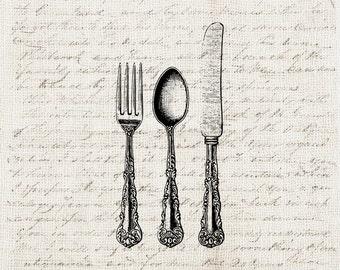Kitchen Digital Download Antique Silverware Flatware Set Fork Knife Spoon  Set Graphic Printable Craft Transfer Scrapbook