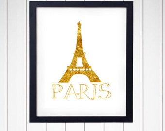 Paris Wall Art - Faux Gold Foil - Eiffel Tower - Wall Decor - Digital Art - 2500