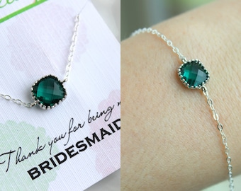 Dainty Silver Emerald Green Bracelet Bridesmaid Gift Emerald Wedding Jewelry - Bridesmaid Bracelet Silver Jewelry Accessories Gift under 20