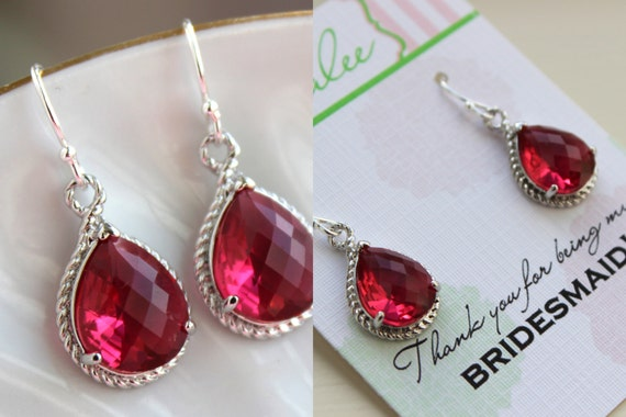 Wedding Gift Jewelry: Silver Ruby Red Earrings Wedding Jewelry Bridesmaid Earrings
