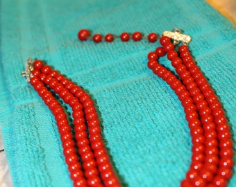 """Gorgeous Red Vintage 3 Strand Necklace 15"""""""