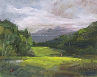 "Golf Art. Wedding gift. Golf Gift. Grandfather Golf Club, NC, Hole #4 - ""Nestled In"". Print of original oil painting."
