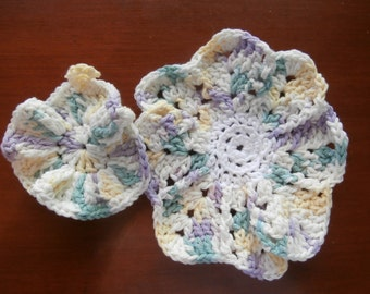 Dish Cloths - Set of 2 - Spring-like! - 100% Cotton - Hand Crocheted - Wash Cloths - Kitchen Gear - Pastel Colors -