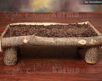 Real Wood Unique Rustic Newborn Baby / Doll Log Wooden Platform Bed Photography Prop
