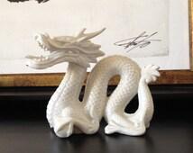Vintage Asian Ceramic Dragon Figurine White Chinoiserie Dragon Blanc de Chine Dragon Figurine