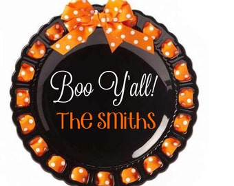 Personalized Holiday Plate ~ Prissy Plate ~ Monogram ~ Halloween Boo Y'all Plate Ribbon Plate Housewarming Home Decor Black and Orange