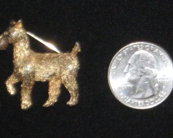Vintage BOUCHER Gold Tone Dog Brooch Pin SIGNED & NUMBERED