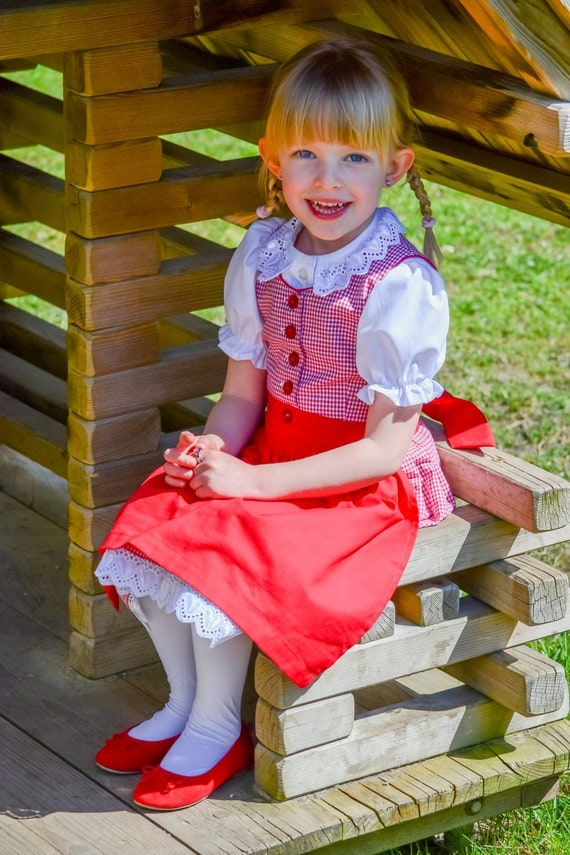 dirndl red - checked Oktoberfest dress