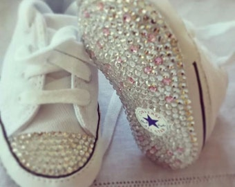 Baby converse, crystalised converse baby shoes, embellished converse, baby swarovski converse shoes