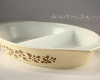 Vintage Pyrex Gold Acorn Divided Casserole Dish