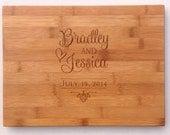 "Bamboo Cutting Board, Butcher Block, Custom Personalized Cutting Board, Wedding Gift, Housewarming, Anniversary, 14"" x 11"""