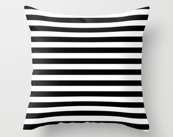 Black and White Striped Pillow - Decorative Pillows - Velveteen Pillow Cover - Black and White Stripes Pillow - Stripes - Gift for Her