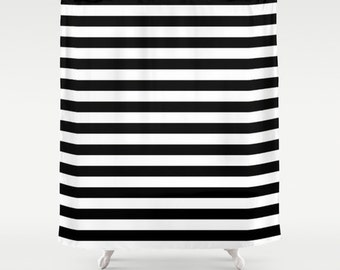 Shower Curtain, Black and White Striped Shower Curtain, Black and White Stripes, Teen Shower Curtain, Girls Shower Curtain, Dorm Decor