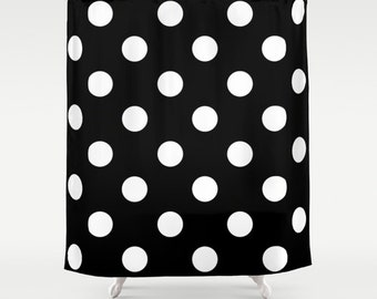 Shower Curtain - Black and White Polka Dot Shower Curtain - Teen Shower Curtain - Teen Room Decor - Dorm Shower Curtain