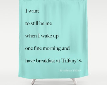Breakfast At Tiffanys, Aqua Shower Curtain, Girls Bathroom Decor, Breakfast At Tiffanys Decor, Fabric Shower Curtain, Standard or Extra Long