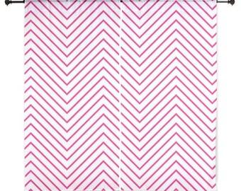 Chiffon Curtains - Chevron Curtains - Sheer Curtains - Fuchsia Chevron - Dorm Room Curtains - Teen Curtains - Girls Curtains - Fuchsia