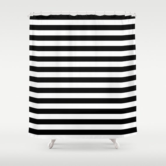 Shower Curtain - Black and White Striped Shower Curtain - Black and ...