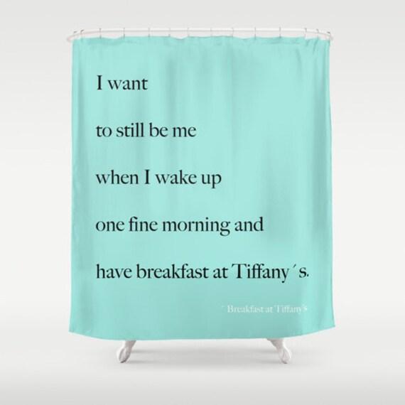 Breakfast At Tiffanys Aqua Shower Curtain Girls Bathroom