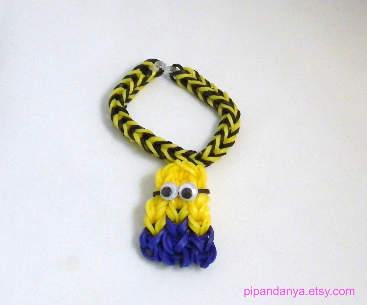items similar to rubber band bracelet with minion charm