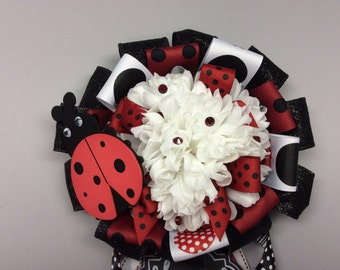 Lady Bug inspired Baby Shower Mum Corsage