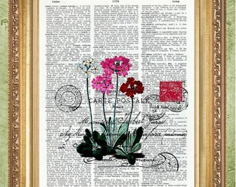 French Postcard with Flowers Dictionary Art Prints Wall Decor Vintage Dictionary Print Dictionary Prints Book Page Art