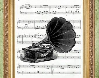 Phonograph Sheet Music Art Print Wall Decor Sheet Music Art Print Sheet Music
