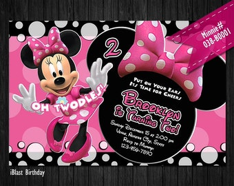 Minnie Mouse Invitations for Minnie Birthday - DIGITAL Minnie invitation, Minnie photo invite