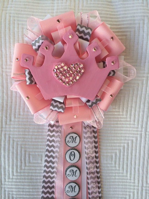 little princess pink baby shower corsage pins