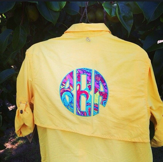 Preppy lilly pulitzer monogrammed yellow magellan fishing for Magellan women s fishing shirts