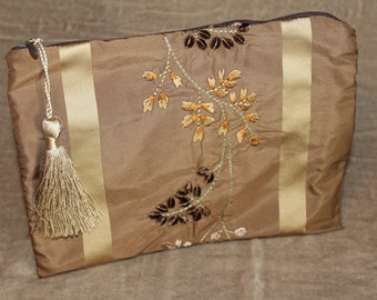 Makeup Bag - 100% Silk - Rose of Tralee - Champagne Tassel