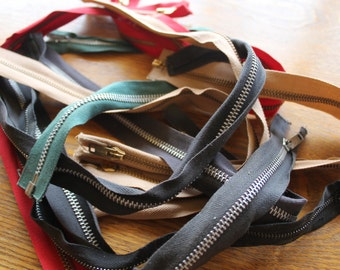 Heavy Duty Metal Zippers Lot of 10