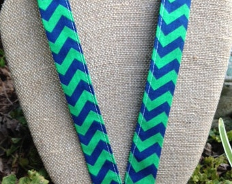 Blue and Green Chevron Lanyard Badge Holder ID Holder