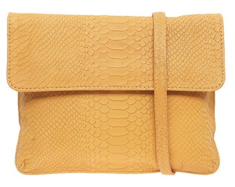SALE 15% off MUSTARD Leather Clutch in Python Leather by StudioMB.