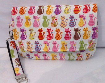 Small diaper bag, baby wipes case. Cat fabric