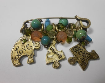 Chico's puzzle pin brooch ~ inspirational love inspire dream puzzle pieces~ safety pin