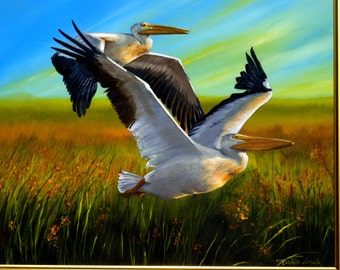 elegant Pelicans! Beautiful original oil on canvas. Two pelicans soaring over a marsh  with the glow of the sunset on their wings!
