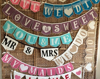 Custom, Burlap,cotton, wedding banners with burlap, or cotton letters, many flag shapes and colored burlap and cotton, Product ID# 2014-027