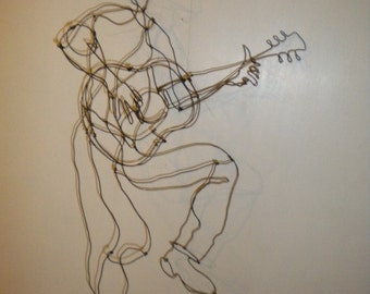 Guitar Guy-3-D steel wire sculpture