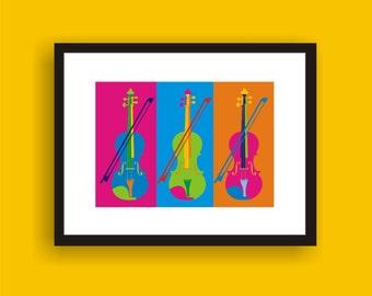 Violin -  Pop Art Original Print by C Wiedenheft  comes with a white mat and ready to frame.