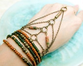 Chopa Handflower. Unakite Gemstone Slave Bracelet with ring. Tribal chic, Boho Chic by Molax Chopa.  Egyptian Hand chain.  Bohemian Love