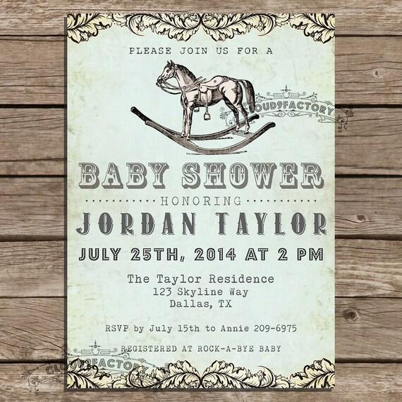 western baby shower invitation vintage rocking horse blue boy girl gender neutral invitation digital