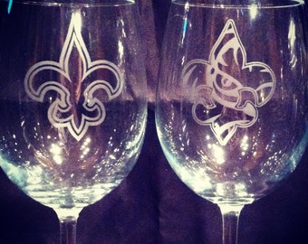 LSU and Saints Fleur De Lis Wine Glasses, Set of 2 Handmade Etched Glasses
