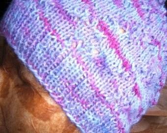 Handknit, mauve & purple alpaca hat