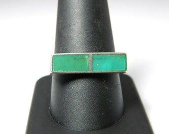 Vintage Native American Sterling Silver Smooth Green Turquoise Inlay (Sz 10) Ring NA538