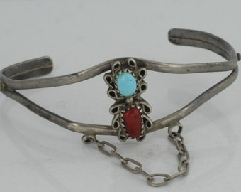 Vintage Native American Sterling Silver Native American Design Coral Turquoise Inlay Cuff NA3437