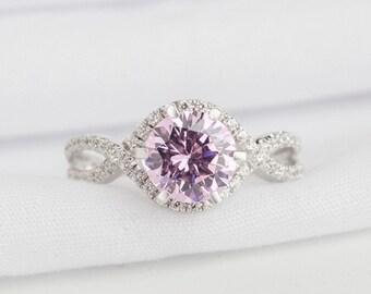 Pink Zircon Ring / Engagement Ring / 14K White Gold Ring