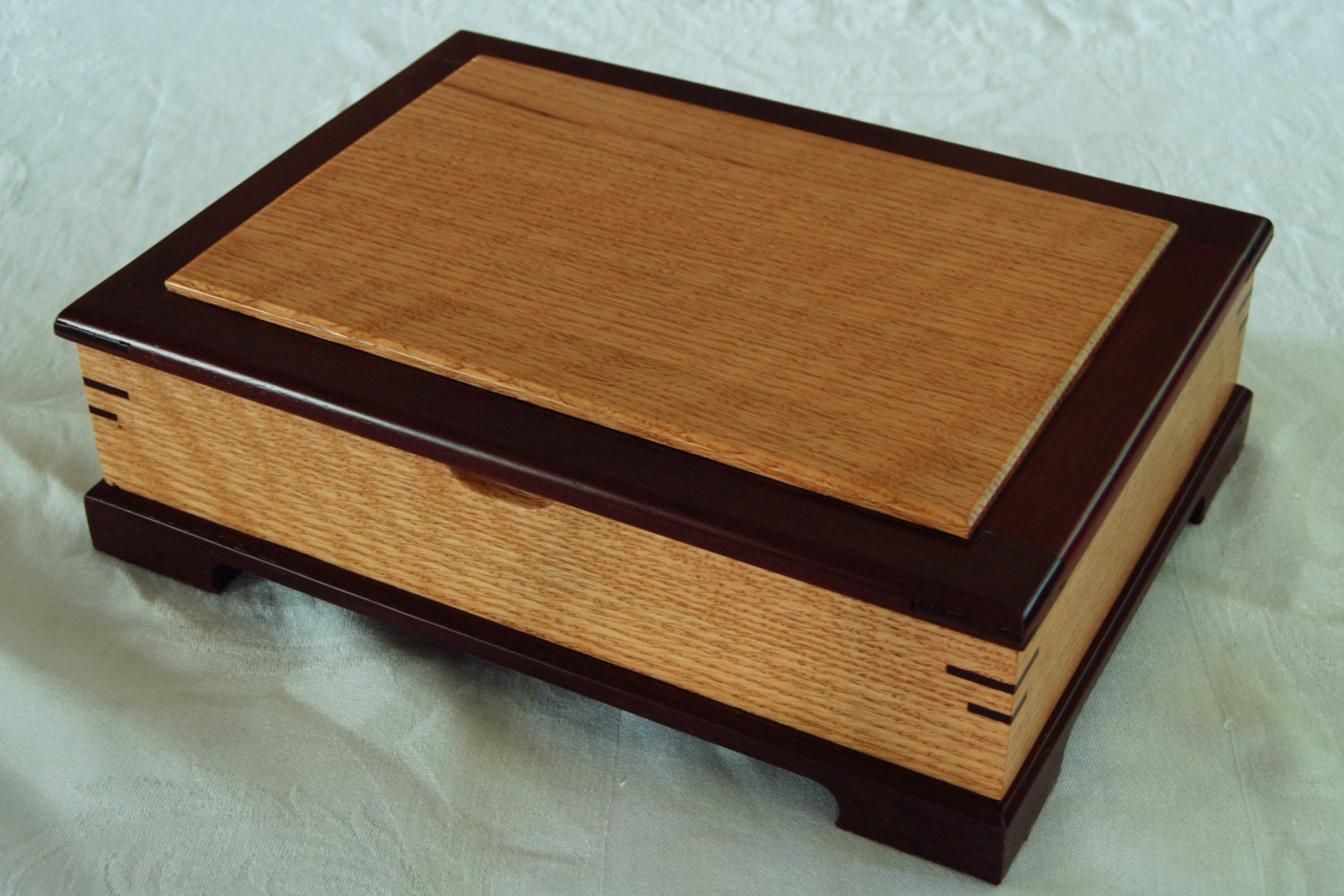 Purple heart and red oak jewelry box for Heart ring box