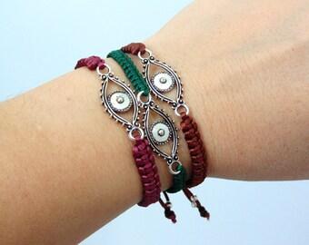 Evil Eye Bracelets set of three, Good Luck Macrame Eye Jewelry