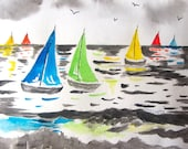 Boats on the Bay - Watercolor Painting PRINT - by Mary Cogley - 2014